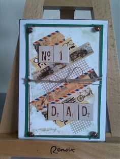 Ink/water and washi tape Fathers day card