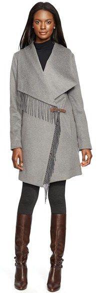 Lauren Ralph Lauren Fringe Trim Long Drape Front Coat
