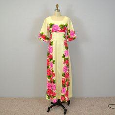 Vintage Hawaiian Dress / barkcloth / floral print by IngridIceland, $185.00