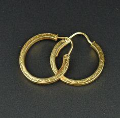 Engraved Gold Half Hoop Earrings  #Gold #Engraved #9K #Earrings #intage #English #France #Rhinestone #Paris #Panther