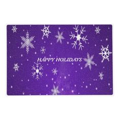 White #Snowflakes Blue-Purple Laminated #Placemat #Zazzle #sandyspidergifts