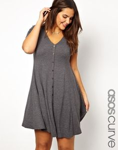 Image 1 of ASOS CURVE 90s' Skater Dress With Button Front Detail