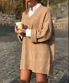 Tan sweater dress.