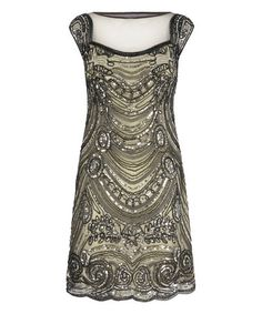 Love this Pewter Beaded Cap-Sleeve Shift Dress by Mela London on #zulily! #zulilyfinds
