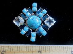 Exceptional Czech Vintage Style Rhinestone Glass Button Turquoise & Blue ..W91