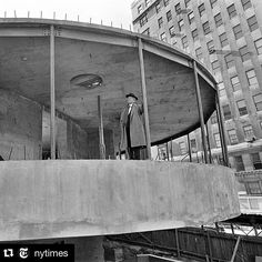 Happy #FrankLloydWrightFridays! On the week of our 56th anniversary take a look back at the construction of our building circa 1956. From the beginning Wright's design sparked controversy and made headlines with both supporters and detractors weighing in. Repost via @nytimes Frank Lloyd Wright inspected the construction of the @guggenheim on Manhattans Upper East Side. Sam Falk a @nytimes photographer took this photo just over two years before the museum opened to the public. The @nytimes…