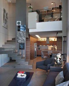 Stunning Modern Duplex Loft Apartment - São Paulo, Brazil #apartment #loft Loft Interior Design, Loft Design, Interior Architecture, Interior Modern, Interior Ideas, Modern Loft Apartment, Apartment Interior, Studio Apartments, Room Decor Bedroom