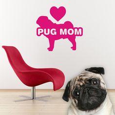 Dog Decal Pug Mom, Mops Carlin