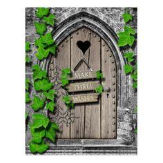 Old Wooden Magical Fantasy Fairy Wishing Door Postcard - postcard post card postcards unique diy cyo customize personalize Diy Fairy Door, Fairy Doors, Old Wooden Doors, Rustic Doors, Garden Doors, Secret Garden Door, Fairytale House, Old Brick Wall, Fairy Tree
