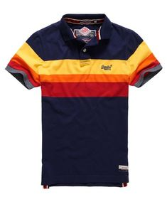 Superdry Triband Chest Stripe Polo Shirt Navy