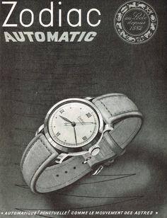 1948 Zodiac Automatic Wrist Watch Print Ad. #zodiac #automatic #watch #watches #vintage #ads #stawc