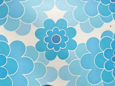 Vintage blue wallpaper by the meter French pop flowers 60s 70s Fouga