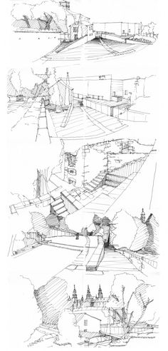 Interesting Find A Career In Architecture Ideas. Admirable Find A Career In Architecture Ideas. Landscape Sketch, Landscape Drawings, Architecture Graphics, Architecture Drawings, Architecture Diagrams, Architecture Portfolio, Classical Architecture, Cool Drawings, Drawing Sketches