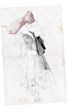 FASHION WEEK TEL-AVIV My first illustration for the SASSON KEDEM show by Shira Barzilay - fashion illustrator שבוע אופנה גינדי תל אביב איור ...