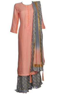 This set features a peach long shirt in silk base along with a contrast grey palazzo pants with gold badla embroidery. It is paired with a very classy peach grey ombre dupatta in pure georgette base with gold badle embellished grey silk border and gold shimmer border. Dress to impress in this beautifully crafted silhouette and create a striking impact. This silhouette is not only comfortable but effortlessly stylish.