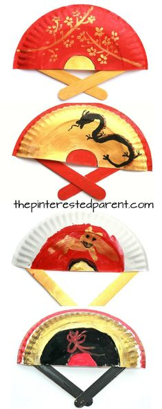 Painted Paper Plate Hand Fans. Perfect for Chinese New Year or Tet. Kid's & preschooler cultural arts and crafts ideas.