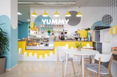 """YUMMY"" is a new kids restaurant located in Ivano-Frankivsk, Ukraine. Coffee Shop Interior Design, Coffee Shop Design, Restaurant Interior Design, Bakery Design, Cafe Design, Store Design, Kids Restaurants, Etagere Design, Kids Cafe"