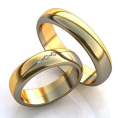 Gold Wedding Rings Two Tone Women Diamond Wedding by WorldOfGold
