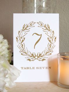 Gold Wreath Table Numbers by prettychicsf on Etsy, $23.00