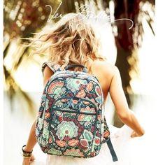 Very Bradley Green Paisley Backpack Msrp $118