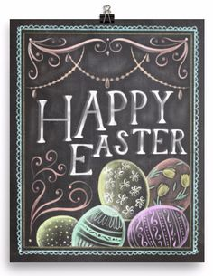 Enjoy this Happy Easter chalkboard art print as a staple in your Easter decorations! Museum-quality posters made on thick, durable, matte paper. A statement in any room. These puppies are printed on a