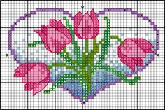Cross-stitch flower hearts - tulips... no color chart available, just use pattern chart as your color guide.. or choose your own colors...