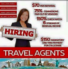 Travel agent certification one time payment t for a lifetime of income and travel