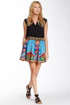 Print Flare Mini Skirt