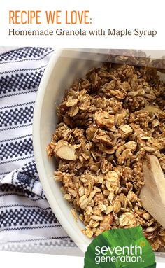 From a simple breakfast to an on-the-go snack, it doesn't get much easier (or nutritious) than granola. Store aisles are lined with pre-made varieties, but making your own mix at home allows you to control everything from the ingredients you use to the overall taste. Here's our take on a simple granola - with just the right amount of sweet. In a large mixing bowl, mix up: 2 cups oats 1 cupchopped / sliveredalmonds 1/4 cup sesame seeds 1/2 cup sunflower seeds 1/4 cup chia & flax seeds 1…