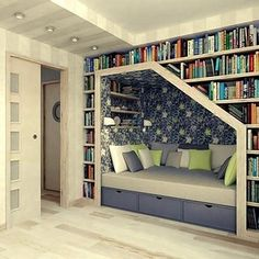 want a home library. with a reading nook.I want a home library. with a reading nook. Home Library Design, Library Ideas, Design Room, Modern Library, Library In Home, Couch Design, Attic Design, Book Nooks, My New Room
