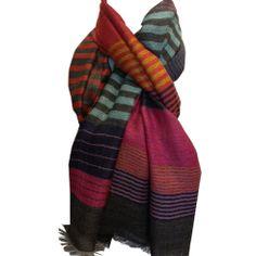 Odonata Wool Stripe Shawl - Hot Moon Collection