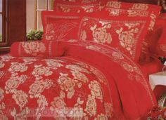 4-Piece Red Jacquard Floral Drill Duvet Cover Bedding Set