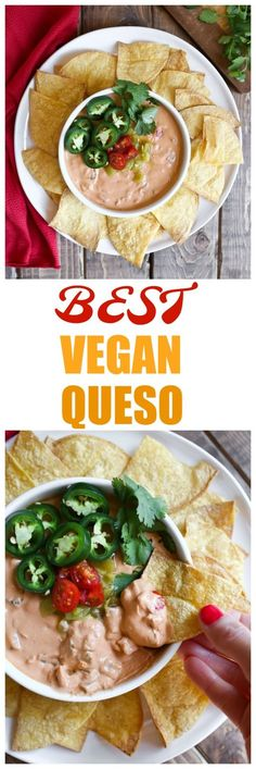 The absolute Best Vegan Queso made with cashews, non-dairy yogurt, salsa, green chiles, tomatoes and zero nutritional yeast! This queso is dairy-free, oil-free and delicious! via @thevegan8