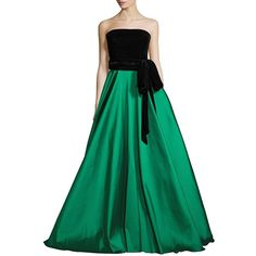Sachin & Babi Noir Jacquard Ball Gown (£1,355) ❤ liked on Polyvore featuring dresses, gowns, apparel & accessories, emerald, strapless ball gown, green evening dresses, pleated gown, green ball gown and colorblock dress