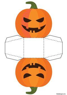 Découpage d'une boîte d'Halloween en forme de citrouille