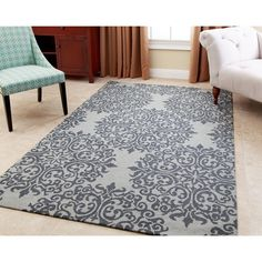 Abbyson Hand-tufted Aubrey Floral Teal New Zealand Wool Rug (5' x 8') (Teal and Light Blue), Size 5' x 8'