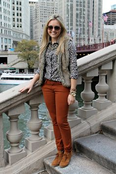 Fur vest, leopard, and rust colored jeans