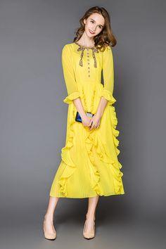 2016 Yellow O Neck 3/4 Long Sleeves Long Women Dress Summer Pleats Ruffles Beads Maxi Dress Holiday Beach Long Dresses 70820 -- Want additional info? Click on the image.