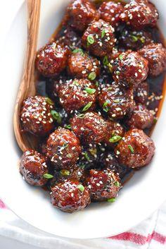 Slow Cooker Sriracha Meatballs | foodiecrush.com
