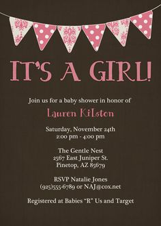 banner baby girl shower invitation it's a by freshlysqueezedcards, $13.00