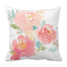 Peonies Summer Bouquet Watercolor Pastel Throw Pillow @zazzle #junkydotcom June 26 2016