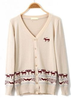 Beige V Neck Long Sleeve Deer Embroidery Sweater pictures