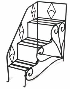 Step Stool Planter, Tiered Wrought Iron Más Sanya, Wrought Iron Staircase, Iron Plant, Steps Design, Stair Steps, Plant Decor, Flower Pots, Planters, Home And Garden