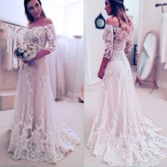 Cheap wedding gowns, Buy Quality elegant wedding gown directly from China sleeved wedding Suppliers: Vestidos de novias 2017 off shoulder long sleeve wedding dress lace applique bride dresses elegant wedding gowns Long Gown For Wedding, Off Shoulder Wedding Dress, Ivory Lace Wedding Dress, Wedding Dress Sleeves, Long Sleeve Wedding, Bridal Wedding Dresses, Bridal Lace, Elegant Wedding, Tulle Wedding