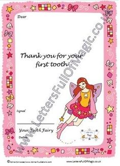 Girl Tooth Fairy  Full Letter  First Tooth By Www