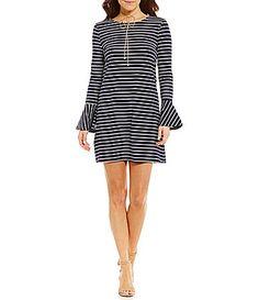 Sugarlips Striped Bell Sleeve Shift Dress #Dillards