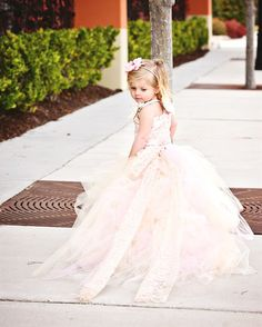 Lace Flower Girl Dress w Tutu and Detachable by BellaBeanCouture... Cute!
