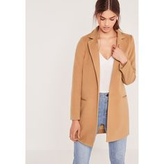 Missguided Petite Short Tailored Faux Wool Coat ($77) ❤ liked on Polyvore featuring outerwear, coats, camel, camel coat, camel wool coat, tailored coat, petite coats and woolen coat