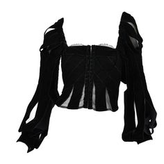 Preowned Tom Ford For Yves Saint Laurent Black Velvet Ribbon Corset ($2,795) ❤ liked on Polyvore featuring tops, shirts, blouses, corsets, black, corsette tops, shirt tops, tom ford shirt, velvet top and corset tops