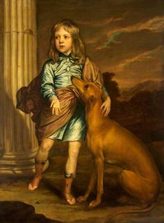 Child of a noble family with a greyhound - by a follower (?) of Van Dyck circa 1650 in the collection @ National Trust, Dyrham Park Dyrham, near Bath, Gloucestershire, England